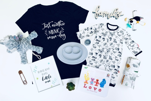 A picture of fun and thoughtful gifts for mom and baby.