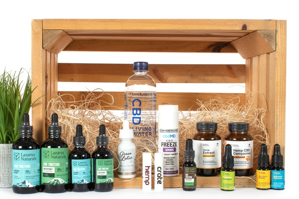 Hemp Crate Co CBD products such as water, oils, tinctures, capsules, and more.