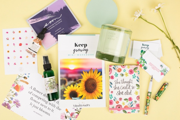 MindWander Carefully curated self-care items and therapy inspired workbooks to decrease stress and anxiety.