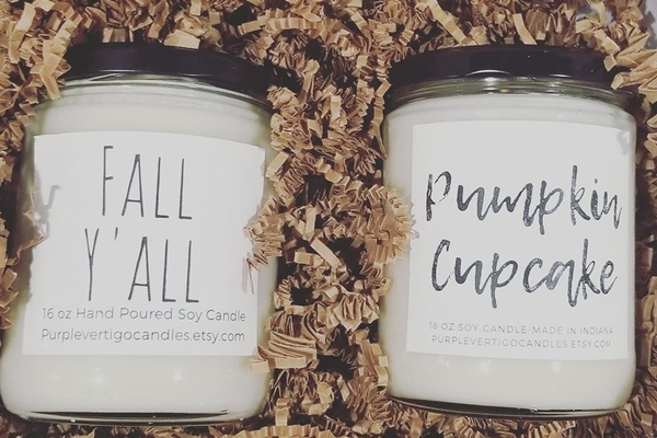 A Fall Y'all candle and a Pumpkin Cupcake candle.