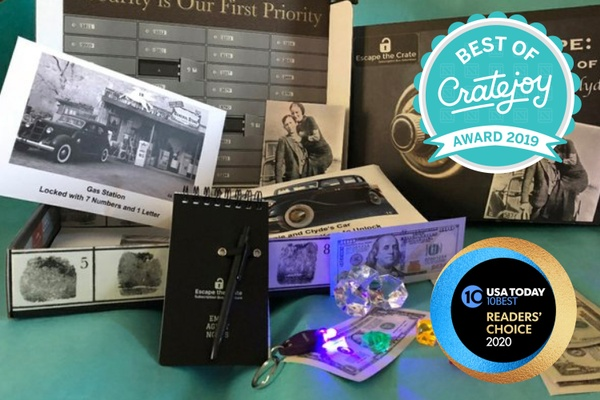 The Best of Cratejoy Award 2019 emblem over antique car memorabilia, counterfeit money, and black and white photos.
